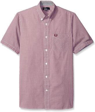Fred Perry Classic Gingham Short Sleeve Cotton Woven Mahogany Button Down Shirt