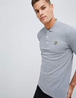 Lyle & Scott logo pique polo in light gray