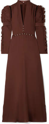 Chloé Embellished Cutout Crepe Gown - Dark brown