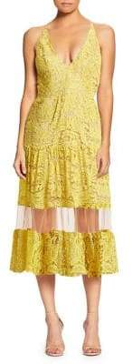 Dress the Population Fit-&-Flare Mesh-Inset Lace Dress