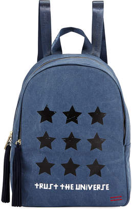 Peace Love World Graphic Tassel-Zip Canvas Backpack