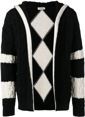 Saint Laurent cable knit hooded cardigan