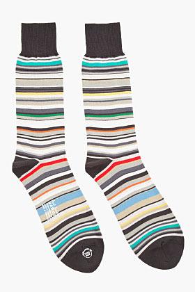 Paul Smith Black Multistripe Tall Stretch Socks
