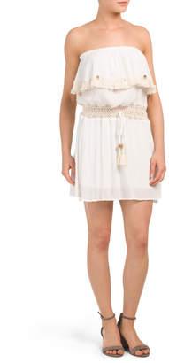 bde5fb031 Juniors Crochet Fringe Tube Dress