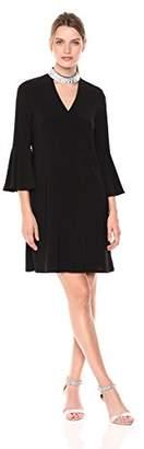 MSK Women's GG V Bell Sleeve Dress with Neck Trim