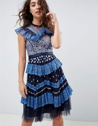 Needle & Thread tiered lace embroidered midi dress in navy