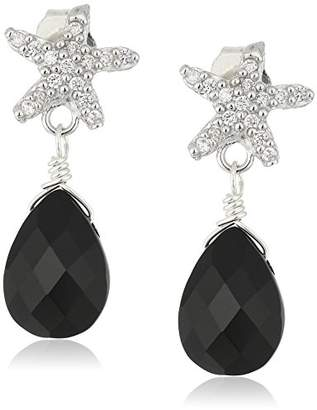 Faceted Stone with Star Fish Pave Tops Sterling Silver Drop Earrings
