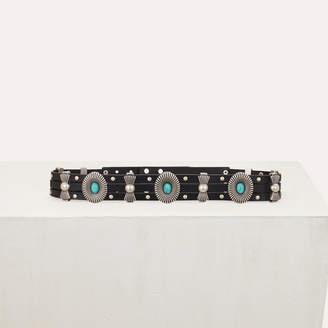 Maje High-waisted leather belt with studs