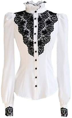 Choies Women's Vintage With Black Lace Stand-Up Collar Puff Long Sleeve Shirts