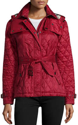 Burberry Finsbridge Check-Lined Short Quilted Coat W/ Removable Hood $695 thestylecure.com