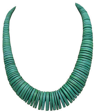 One Kings Lane Vintage Turquoise Wood Disk Bead Necklace