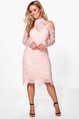 boohoo Plus Crochet Lace Open Shoulder Midi Dress