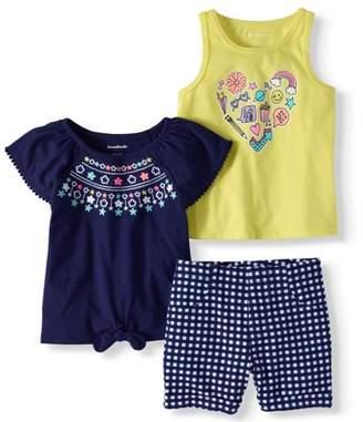 Garanimals Toddler Girls' Tie-Front Top, Graphic Tank and Shorts, 3-Piece Set