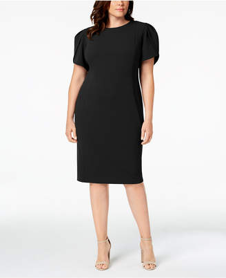 Calvin Klein Plus Size Puff-Sleeve Sheath Dress