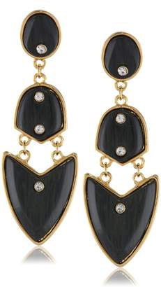 Kara Ross KARA by Small Artemis, Gold with Ebony Resin Drop Earrings