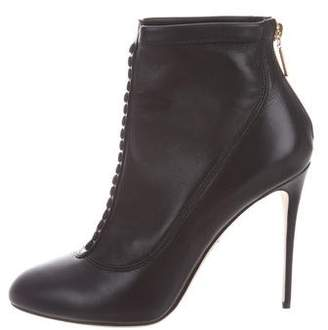 Dolce & Gabbana Leather Round-Toe Booties w/ Tags