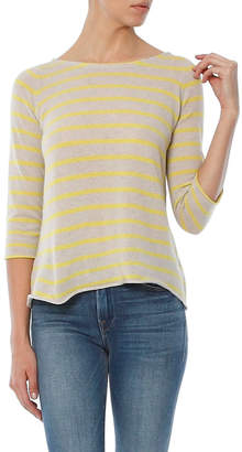 Autumn Cashmere Pencil Stripe Boatneck Sweater With Back Ruffle