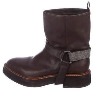 Brunello Cucinelli Leather Monili-Accented Boots