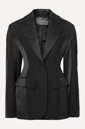 Thierry Mugler Paneled Grain De Poudre Wool And Satin Blazer - Black