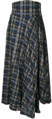 Mame asymmetric plaid skirt
