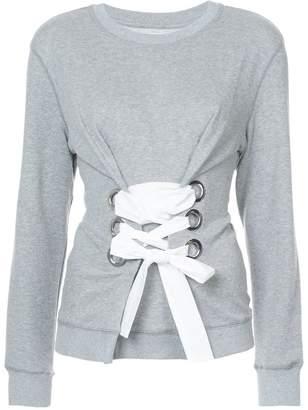 Derek Lam 10 Crosby Crewneck Sweatshirt With Lacing Detail