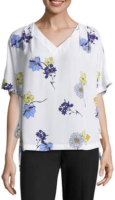 WORTHINGTON Worthington Short Sleeve V Neck Side Tie Blouse