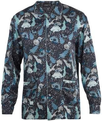 MENG Decorative floral-print silk-satin pyjama shirt