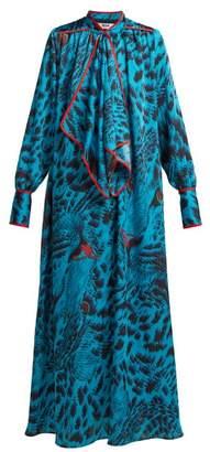 MSGM Leopard Print Satin Maxi Dress - Womens - Blue