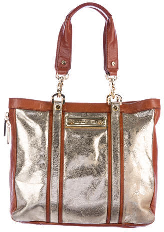Tory Burch Tory Burch Leather-Trimmed Metallic Tote