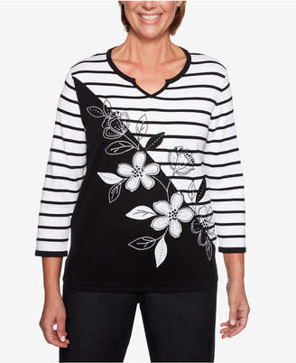 Alfred Dunner Grand Boulevard Embroidered Applique Striped Sweater