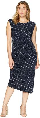 Vince Camuto Specialty Size Plus Size Cap Sleeve Romantic Dots Side Ruched Dress Women's Dress