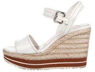 Prada Patent Wedge Sandals