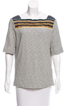 Tory Burch Striped Short Sleeve Tunic