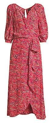 Saloni Women's Olivia Draped Silk Dress - Size 0