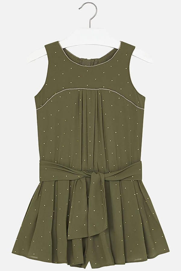 Mayoral Army-Green Crêpe Romper