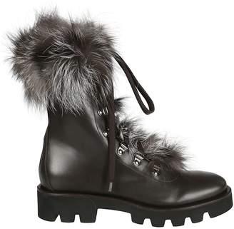 Fabiana Filippi Fur Lace-Up Boots