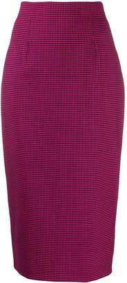Alberto Biani houndstooth-print fitted pencil skirt