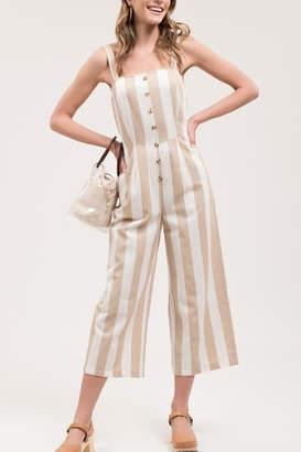 Blu Pepper Buttoned Stripe Jumpsuit