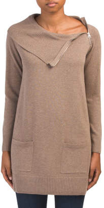 Asymmetrical Sweater Tunic With Pockets
