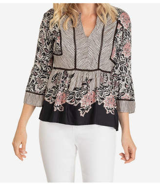 Tribal Boho Chic Blouse in Stretch Challis