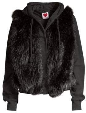 House of Fluff Hooded Faux Fur Sweatshirt Jacket