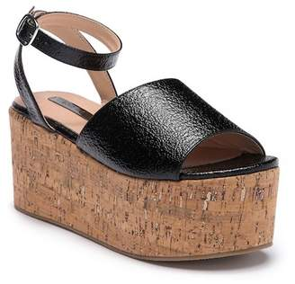 LOST INK Blu Cork Platform Sandal