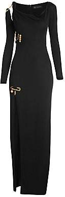Versace Women's Long-Sleeve Safety Pin Gown