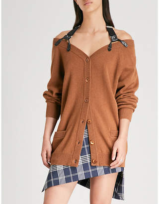 Moschino Harness-embellished wool and cashmere-blend cardigan