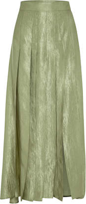 Anna Quan Sable Pleated Taffeta Midi Skirt Size: 6