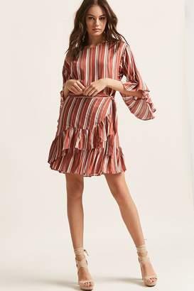 Forever 21 Stripe Woven Ruffle-Trim Dress