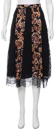 Rodarte Lace-Paneled Silk-Blend Skirt