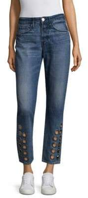 3x1 Hollow Grommet Cropped Jeans