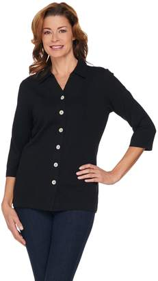 Denim & Co. Button Front Collared V-Neck Knit Top