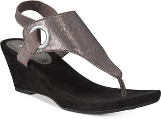 White Mountain Aida Thong Wedge Sandals $69 thestylecure.com